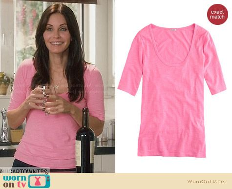 J. Crew Drapey Elbow Sleeve Tee in Pink worn by Courtney Cox on Cougar Town