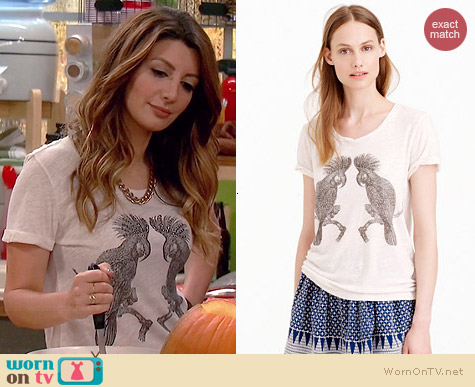 J. Crew Drapey Studded Parrot Tee worn by Nasim Pedrad on Mulaney