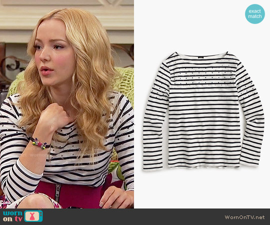 J. Crew Embellished Yoke Striped T-shirt worn by Dove Cameron on Liv & Maddie