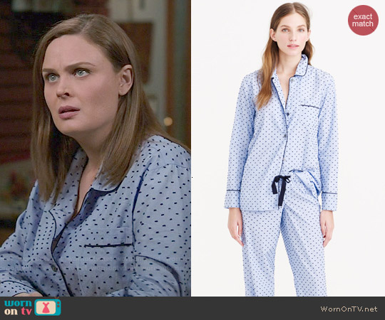 J. Crew End-on-end Pajama Set in Swiss Dot worn by Emily Deschanel on Bones