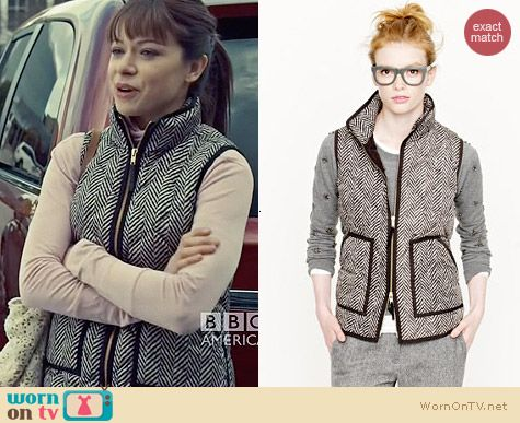 J. Crew Excursion Quilted Vest in Herringbone worn by Tatiana Maslany on Orphan Black