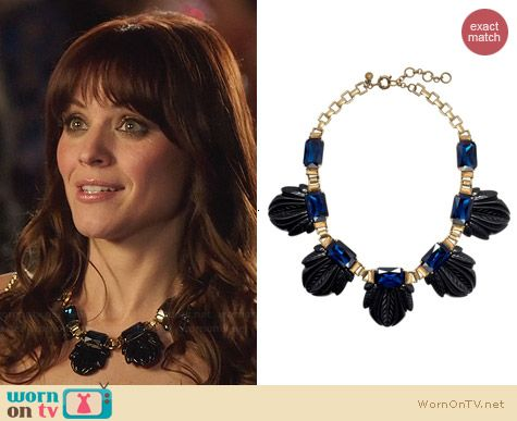 J. Crew Fanned Leaf Necklace in Seaport Blue worn by Lauren Bittner on Hart of Dixie