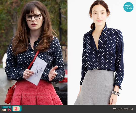 J. Crew Perfect Shirt in Foil Dot worn by Zooey Deschanel on New Girl