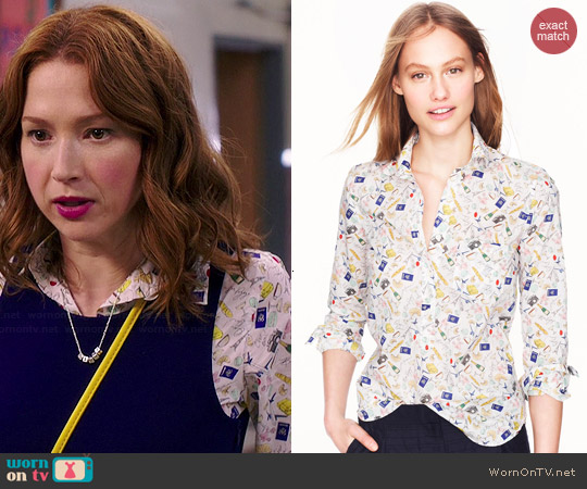 J. Crew French Print Popover worn by Ellie Kemper on Unbreakable Kimmy Schmidt