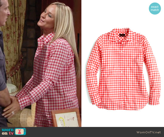 J. Crew Red Gingham Check Boy Shirt worn by Sharon Case on The Young & the Restless