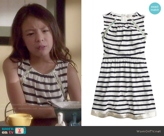 J. Crew Girls' Cross-back Striped Sundress worn by Aubrey Anderson-Emmons on Modern Family