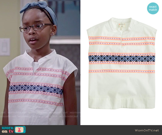 J. Crew Girls' Embroidered Sleeveless Tunic worn by Marsai Martin on Blackish