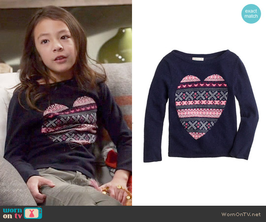 J. Crew Girls Fair Isle Heart Sweater worn by Aubrey Anderson-Emmons on Modern Family