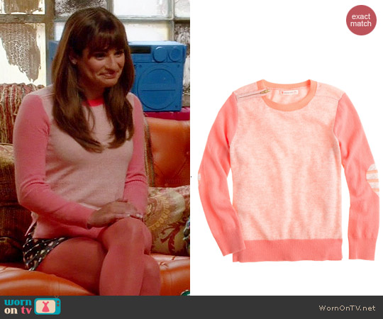 J. Crew Colorblock Zip Sweater with Heart Elbow Patches worn by Lea Michele on Glee
