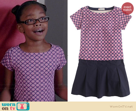 J. Crew Girls Knit Plum Foulard Dress worn by Marsai Martin on Black-ish
