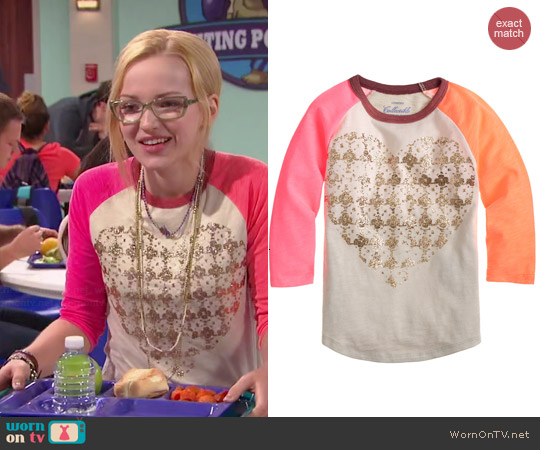 J. Crew Girls Metallic Heart Baseball Tee worn by Dove Cameron on Liv & Maddie