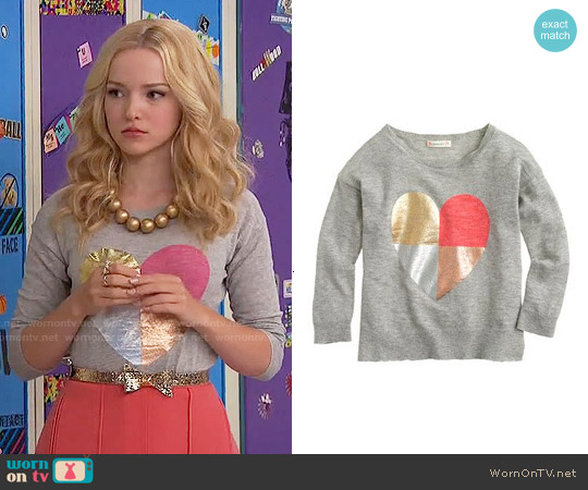 J. Crew Girls' Multi Heart Sweater worn by Dove Cameron on Liv & Maddie