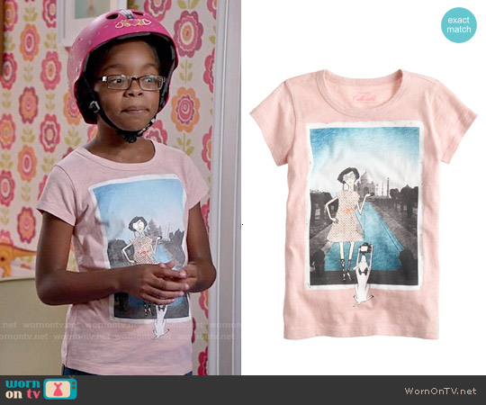 J. Crew Girls' Olive Taj Mahal T-shirt worn by Marsai Martin on Blackish
