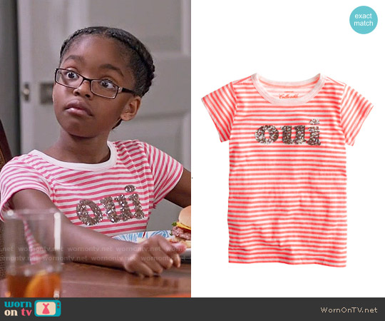 J. Crew Girls' Oui-Non Sequin T-shirt worn by Marsai Martin on Blackish