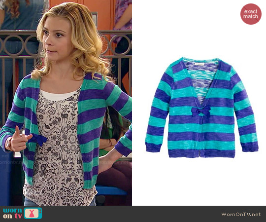 J. Crew Girls' Rugby Stripe Cardigan worn by G. Hannelius on Dog with a Blog