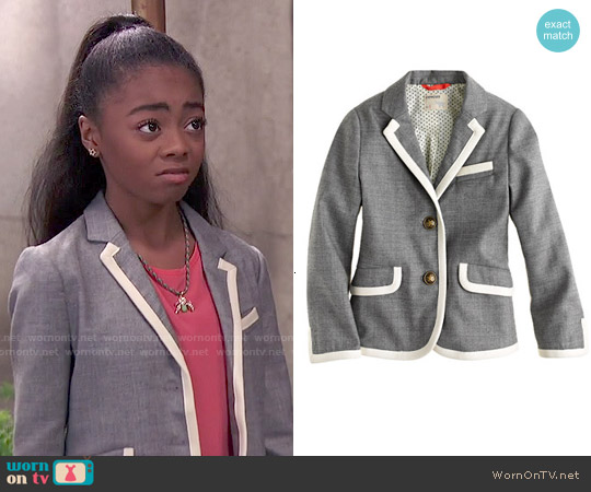 J. Crew Girls' Schoolboy Blazer in Tipped Flannel worn by Skai Jackson on Jessie