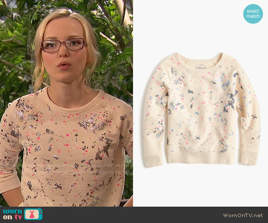 J. Crew Girls Splatter Paint Sweatshirt worn by Dove Cameron on Liv & Maddie