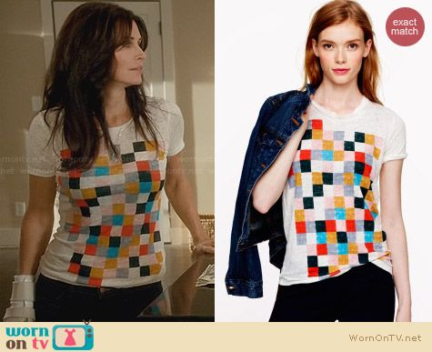 J. Crew Grid Block Tee worn by Courtney Cox on Cougar Town