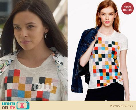 J. Crew Grid Block Tee worn by Malese Jow on Star-Crossed