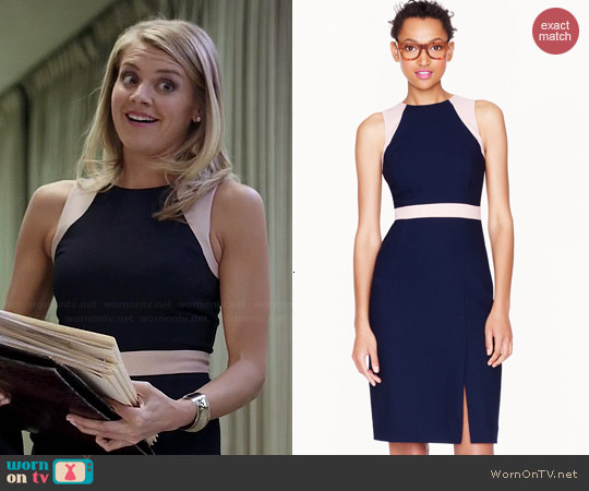 J. Crew Gwen Colorblocked Dress worn by Eliza Coupe on Benched