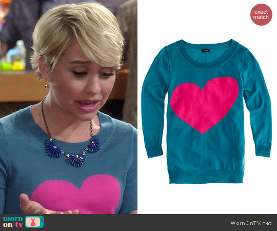 J. Crew Heart Me Sweater worn by Chelsea Kane on Baby Daddy