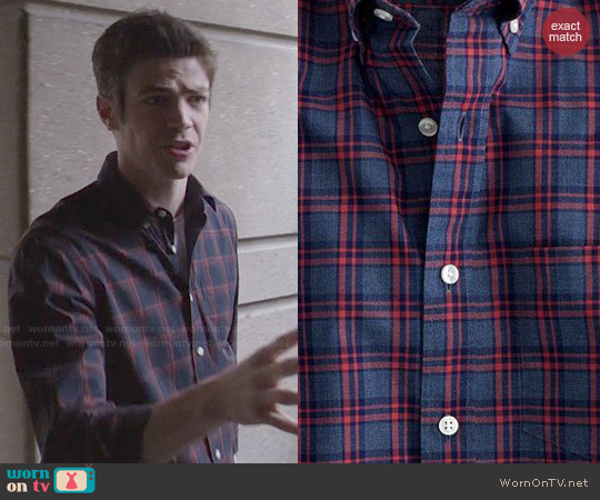 J. Crew Secret Wash Shirt in Heather Navy Check worn by Grant Gustin on The Flash
