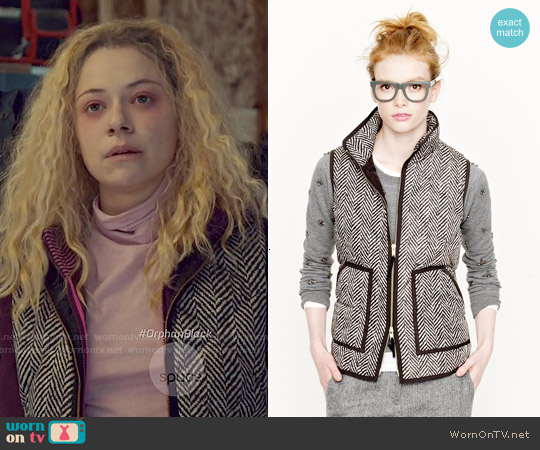J. Crew Excursion Quilted Vest in Herringbone worn by Helena on Orphan Black