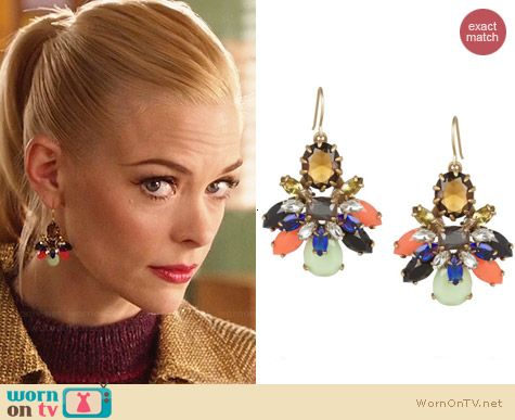 J. Crew Honey Bee Crystal Earrings worn by Jaime King on Hart of Dixie
