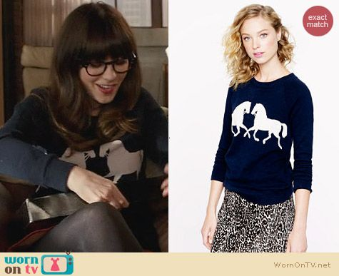 J. Crew Horsing Around Sweatshirt worn by Zooey Deschanel on New Girl
