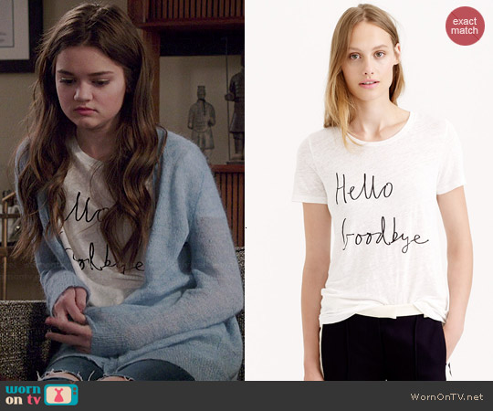 Hugo Guinness for J. Crew Hello Goodbye Linen Tee worn by Ciara Bravo on Red Band Society