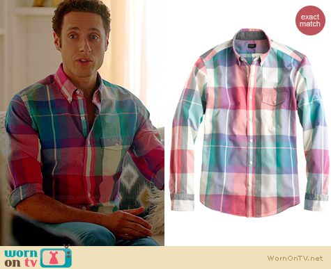 J. Crew Indian Cotton Shirt in Muslin Plaid worn by Paulo Constanzo on Royal Pains