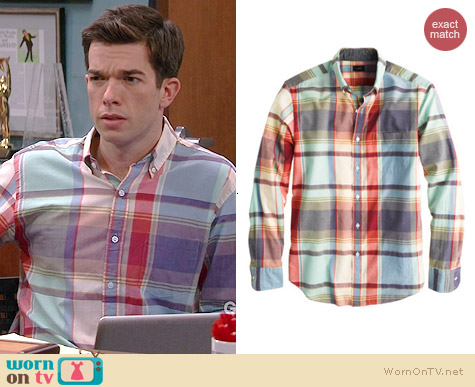 J. Crew Indian Cotton Shirt in Poppy Plaid worn by John Mulaney on Mulaney