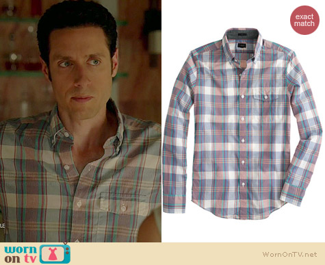 J. Crew Indian Cotton Shirt in Sail Blue Plaid worn by Paulo Costanzo on Royal Pains