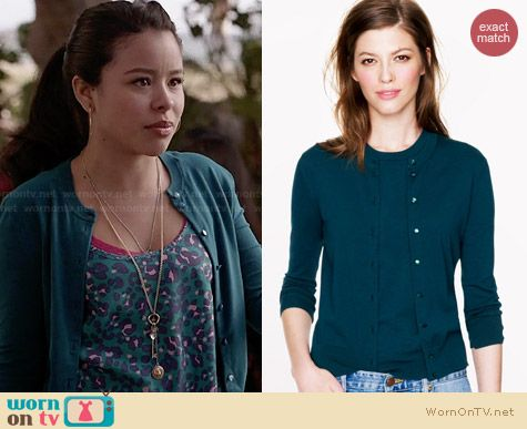 J. Crew Jackie Cardigan in Landscape Green worn by Cierra Ramirez on The Fosters