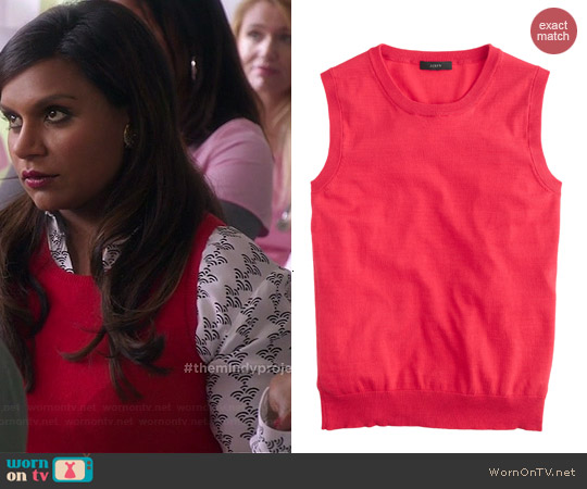 J. Crew Jackie Shell in Electric Red worn by Mindy Kaling on The Mindy Project