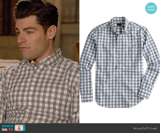 J. Crew Jaspé cotton shirt in gingham in hthr navy worn by Max Greenfield on New Girl