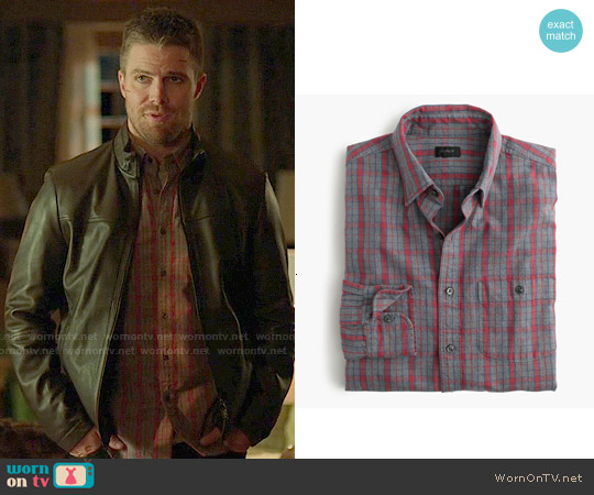 J. Crew Jaspé Cotton Shirt in Heather Slate Plaid worn by Stephen Amell on Arrow