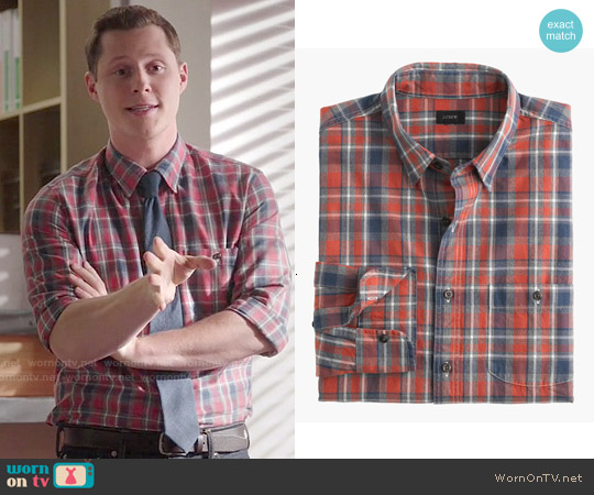 Slim Jaspe Cotton Shirt in Cabin Plaid worn by Noah Reid on Kevin from Work