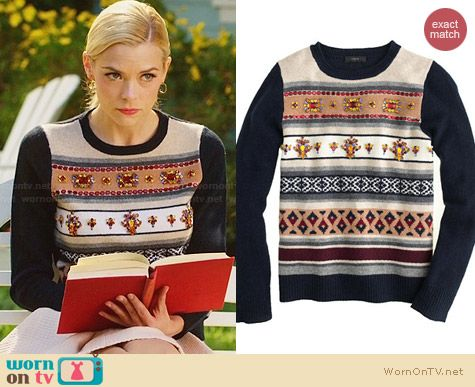 J. Crew Jeweled Fair Isle Stripe Sweater worn by Jaime King on Hart of Dixie
