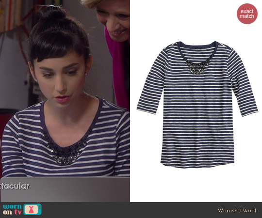 J. Crew Jeweled Painter Stripe Tee in Cream Admiral worn by Molly Ephraim on Last Man Standing