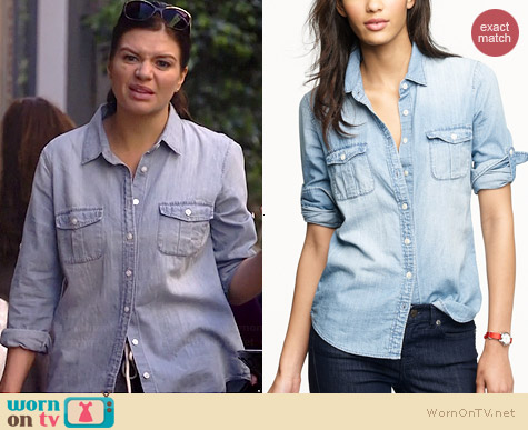 J. Crew Keeper Chambray Shirt worn by Casey Wilson on Marry Me