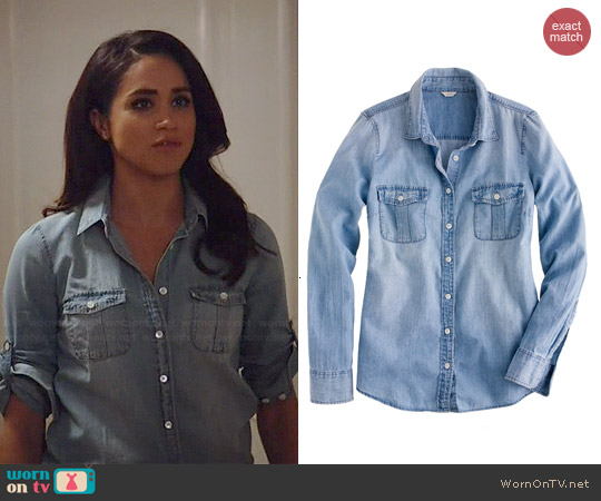 J. Crew Keeper Chambray Shirt worn by Meghan Markle on Suits