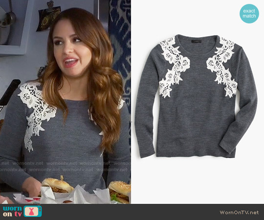 J. Crew Lace Applique Sweater worn by Aimee Carrero on Young & Hungry