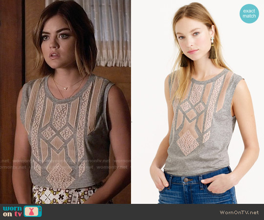 Wornontv aria s grey crop top with pink lace applique and printed