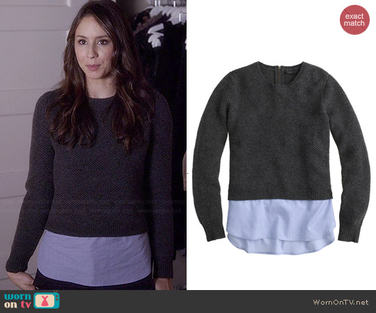 J. Crew Lambswool Shirttail Sweater in Hthr Carbon worn by Troian Bellisario on PLL