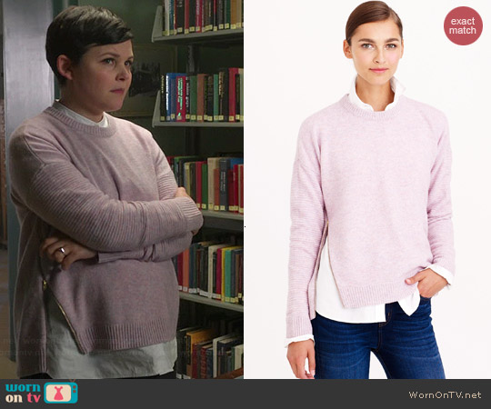 J. Crew Lambswool Zip Sweater in Lavender Multi worn by Ginnifer Goodwin on OUAT