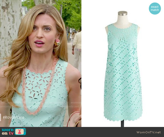 J. Crew Laser Cut Floral Shift Dress worn by Brooke D'Orsay on Royal Pains
