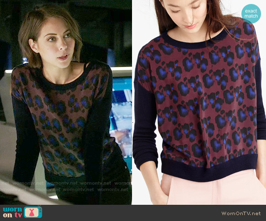 J. Crew Cobalt Leopard Sweater worn by Willa Holland on Arrow