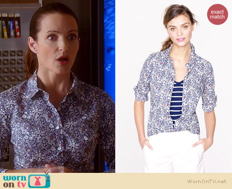 J. Crew Liberty Perfect Shirt in June's Meadow Floral worn by Kristin Davis on Bad Teacher