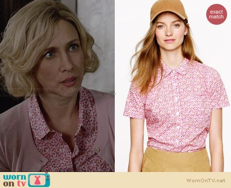 J. Crew Liberty Peter Pan Shirt in Saeed Floral worn by Vera Farmiga on Bates Motel